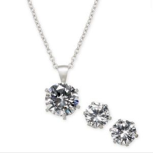 Cubic zirconia pendant necklace and earrings set